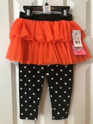 NWT Toddler Girls Young Hearts Black Star Leggings With Attached Orange Tutu 4T