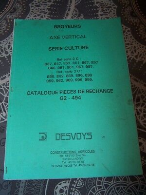EU catalogue de pieces detachees Broyeurs DESVOYS G2 494 827 847 853 861 867 etc