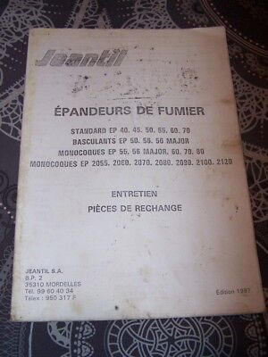 F3 Notice/Manuel entretien Catalogue pieces de rechange Epandeur Fumier JEANTIL