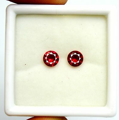 1.79Ct GGL Certified Natural Sizzling Round Cut Red Ruby Gemstone Pair RIng Size