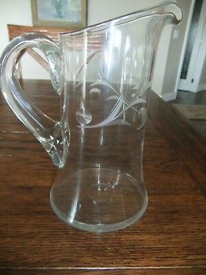 Antique Etched Glass Water Iced Tea Juice Lemonade Pitcher - 1920's
