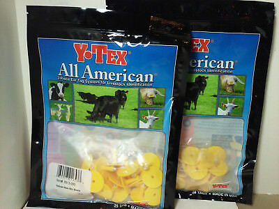 Y-TEX Ear Tags 50 Cattle ID Small Male Buttons YELLOW 2 Bags of 25 NEW