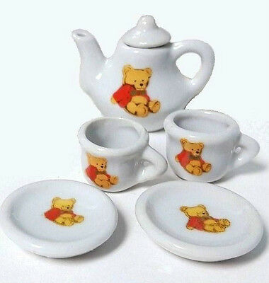 TEA SET Miniature Porcelain Bear Teapot Collector Play Girl TOY Doll House Decor