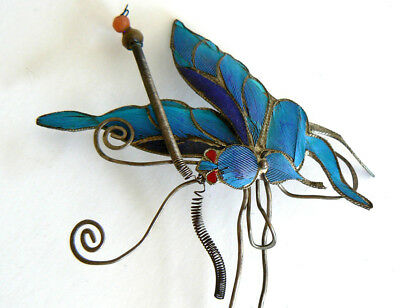 Large Qing Dynasty Kingfisher feather Hair Pin Antique VINTAGE Chinese 19th 點翠