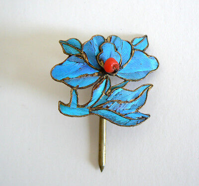 Qing Dynasty Kingfisher Feather Hair Pin Antique VINTAGE Coral Tian-tsui 點翠