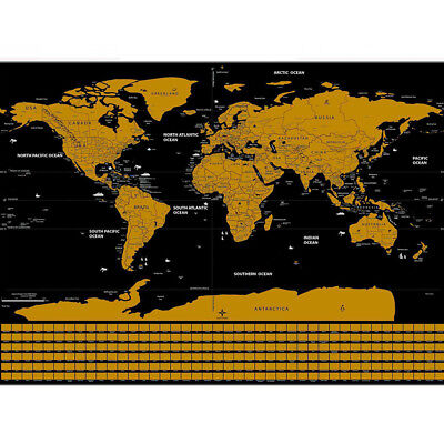 Large Travel Tracker Scratch Off World Map Poster with Country Flags Map E9G7L