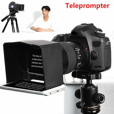 Portable Smart Phone Teleprompter with Lens Adapter Rings Kit w/ Remote Control