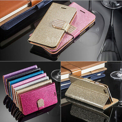For iPhone 5C Case Bling Glitter Diamond Mangetic Flip Wallet PU Leather Cover