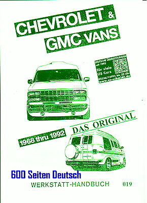 GM Chevrolet   VAN  G20 Kompl. Rep,- Buch Bj. 68 - 92  Deutsch !
