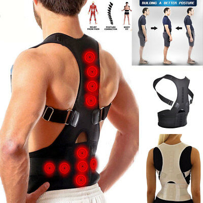 Unisex Posture Corrector Support Magnetic Back Shoulder Brace Belt For Men Women