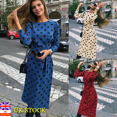 Women Polka Dot Long Sleeve Midi Dress Ladies Festival Casual Party Tie Up Dress
