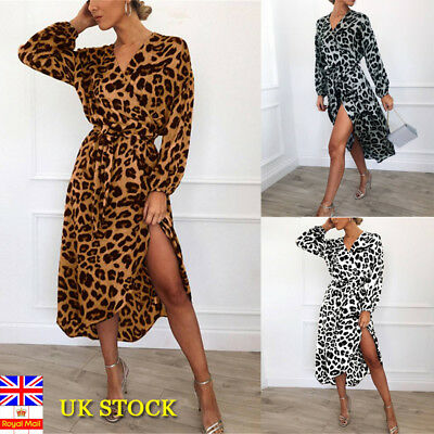 Women Leopard Print V Neck Wrap Dress Ladies Long Sleeve Lace UP Midi Dress10-18