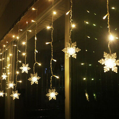LED Window Curtain String Light For Party Wedding Snowflake Xmas Decors Z6R1Q