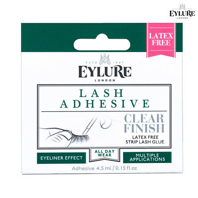 Eylure Lash Adhesive Clear Finish LATEX FREE 4.5ml For Strip Lashes All Day Wear