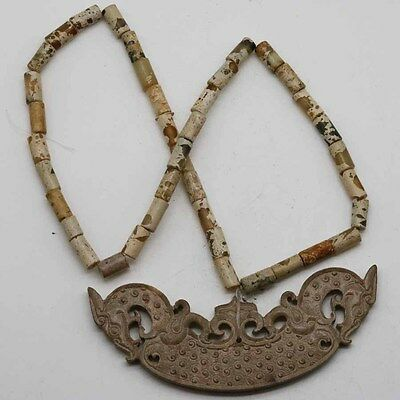 collected Chinese hand-carved jade strings of neck oranment dragon necklace C286