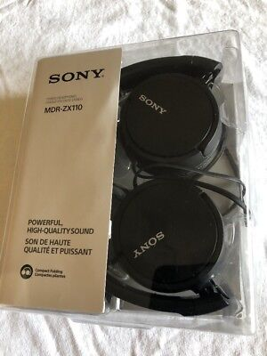 Sony MDR-ZX110 Stereo Monitor Over-Head Headphones Black MDRZX110 Fast Ship