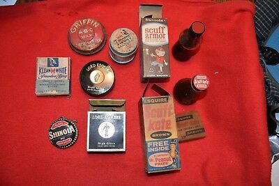 Various Vintage Shoe Shine Boxes and Wax
