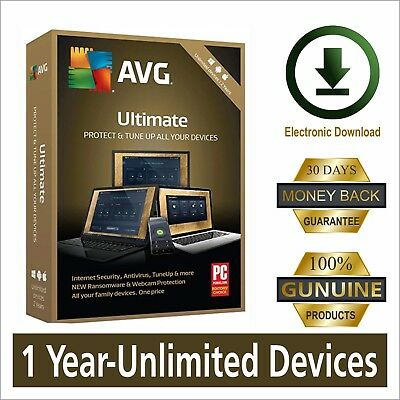 Avg Ultimate 2019, 1 Year - Unlimited Devices, Windows, Mac, Android-Global