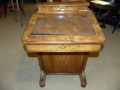 Inlaid Antique Victorian Walnut/ Burl Davenport Writing Desk/ Bureau