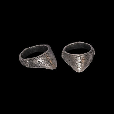 Roman Silver decorated Archer's Ring rare ring  1st-2nd century AD 100% original