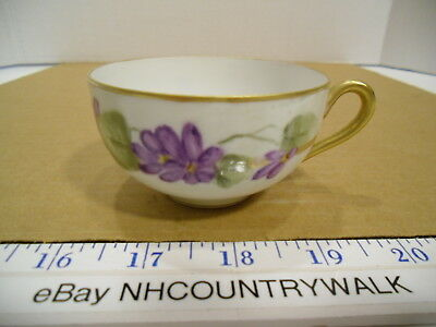 Vintage Hand Painted Nippon Porcelain Purple Floral Gold Trim Tea Cup - EUC