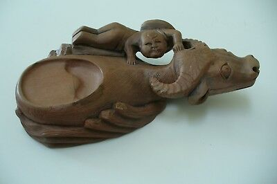 Chinese Hand Carving Boy with Ox or Cow Ink Stone Ink Slab With Box