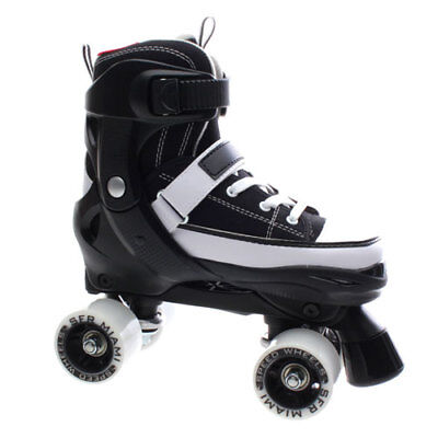 NEW Girls/Junior SFR Miami Adjustable Quad Roller Skates in Black/White