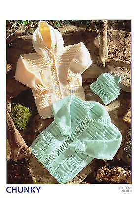 baby childrens jackets and hat chunky knitting pattern 152