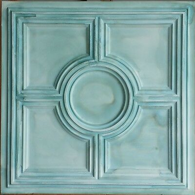 Decor Ceiling 2x2 Faux tin painting greenish cafe bar wall panel 10tile/lot PL37