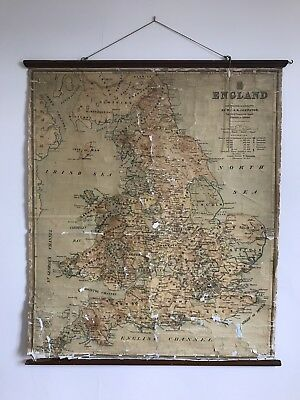 Antique Wall Map England and Wales. Large Vintage Cloth School Map. Mid 1800's