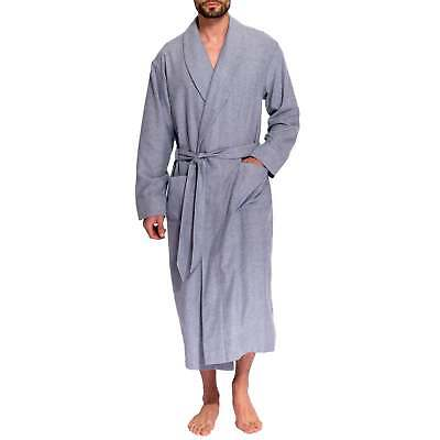 British Boxers Men's Ash Grey Herringbone Two-Fold Flannel Robe
