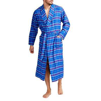 British Boxers Men's Ultra Violet Check Two-Fold Flannel Robe