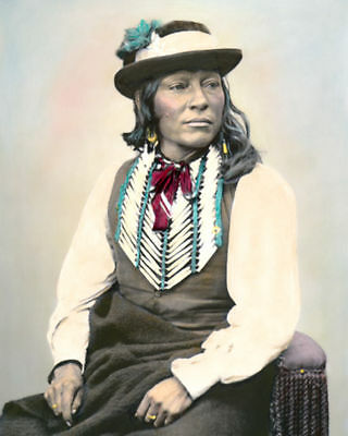 "CHIEF JIM NATIVE AMERICAN INDIAN COMANCHE 1872 8x10"" HAND COLOR TINTED PHOTO"