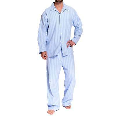 British Boxers Men's Westwood Blue Stripe Two-Fold Flannel Pyjama Set