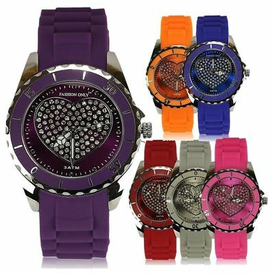 Ladies Stylish Fashion Watches Designer Look Women's Heart Diamante Watch