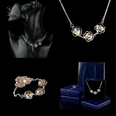 Rose Gold Plated Necklace Crystal Diamond Rhinestone Flowers Pendant Gift boxed