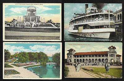 US Set of 4 Vintage Postcards Belle Isle Detroit Michigan 1910 to 1920s Wow ! |