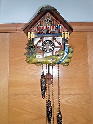 Vintage German Black Forest Musical Animated Cuckoo Clock E.Schmeckenbecher