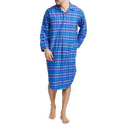 British Boxers Men's Ultra Violet Check Two-Fold Flannel Nightshirt