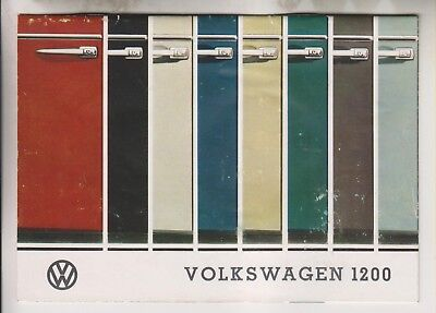 Circa 1963 Booklet - Volkswagen 1200 Color/paint Selections