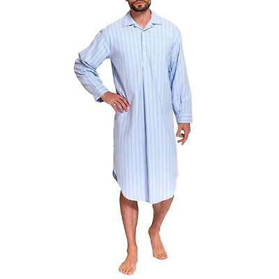 British Boxers Men's Westwood Blue Stripe Two-Fold Flannel Nightshirt