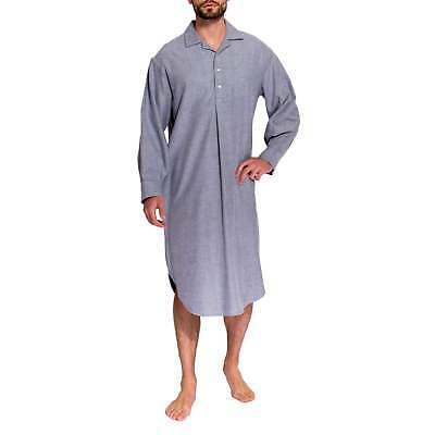 British Boxers Men's Ash Grey Herringbone Two-Fold Flannel Nightshirt