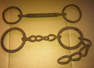 Antique Hand Forged Horse Bit and Carriage Chain