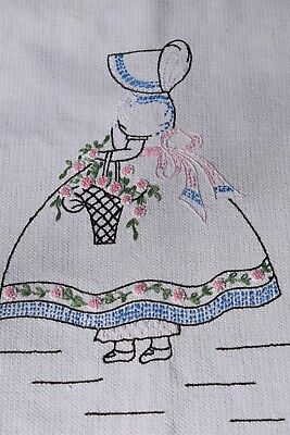 Vintage Hand Embroidered Cotton Southern Belle Tabletop Cloth or Runner