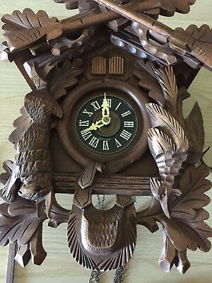 VINTAGE BLACK FOREST MUSICAL HUNTER CUCKOO CLOCK Quail Bird Organ Grinder Box