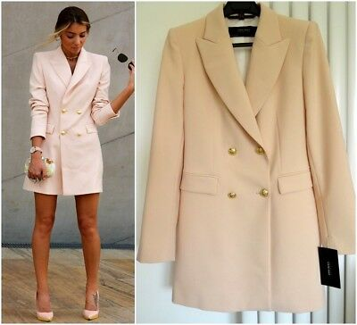 26323d62f4 STUNNING ZARA NUDE Pink Double Breasted Frock Coat Size S - £69.99 ...