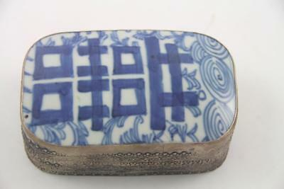 Large Vintage Antique Chinese Porcelain Happiness Shard Box With Wax Stamp