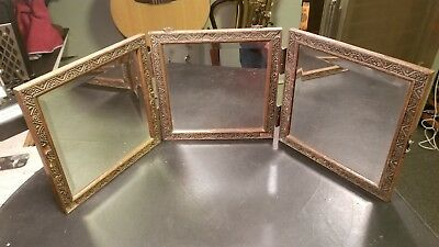 Vintage Antique Victorian Tri-Fold Beveled Glass  Hanging MIRROR Carved Embossed