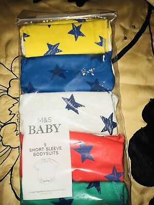 M&S BABY PACK OF 5 BOYS  BODYSUITS NEWBORN UP TO  6lb 6pz NEW