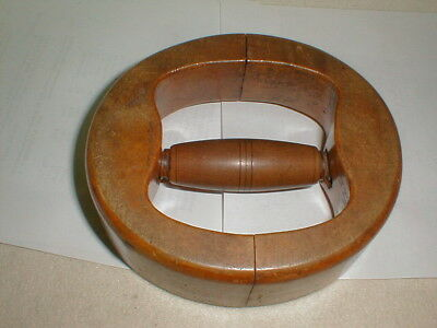 Antique wooden hat form mold stretcher sizer millinery derby wood tool 6 7/8